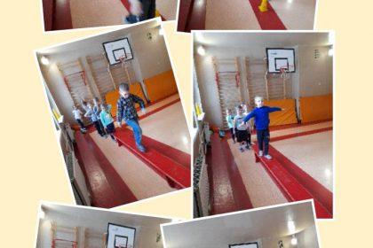 Zajęcia ruchowe na sali gimnastycznej